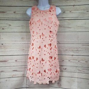 PAPAYA sleeveless floral cutout pink sheath dress